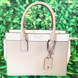Cameron medium satchel Bag taupe white Kate spade